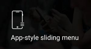 App-style, sliding, menu